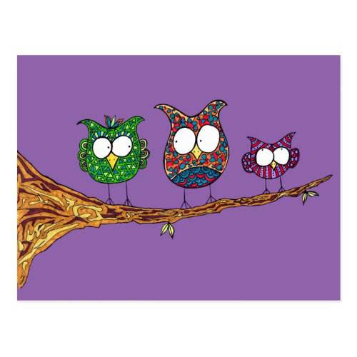 Whimsical Owls Postcard
