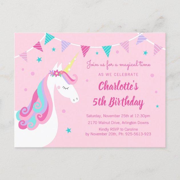 whimsical rainbow unicorn pink 5th birthday invitation postcard zazzle com