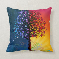 Whimsical Tree of Life Throw Pillow