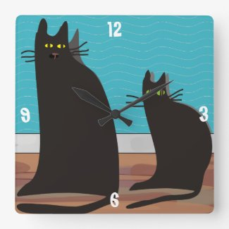 Two Black Cats Wall Clock