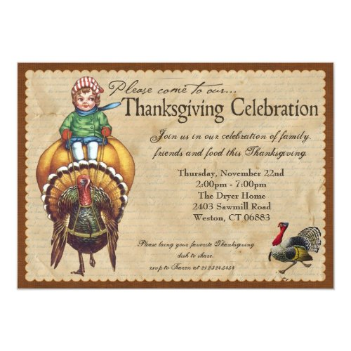 Whimsical Vintage Thanksgiving Invitation