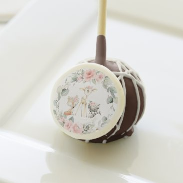 Whimsical Woodland Animals Pink Floral Baby Shower Cake Pops