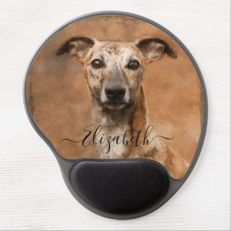 Whippet Dog Add Name Gel Mouse Pad