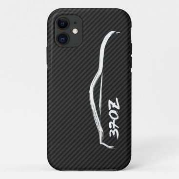 White 370Z Logo with Faux Carbon FIber Background iPhone 11 Case