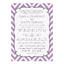 White & African Violet Chevron Stripes Wedding