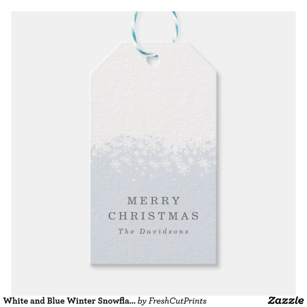 White and Blue Winter Snowflake Holiday Christmas Gift Tags