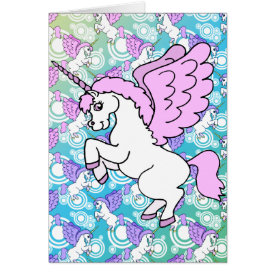 White and Pink Unicorn Card