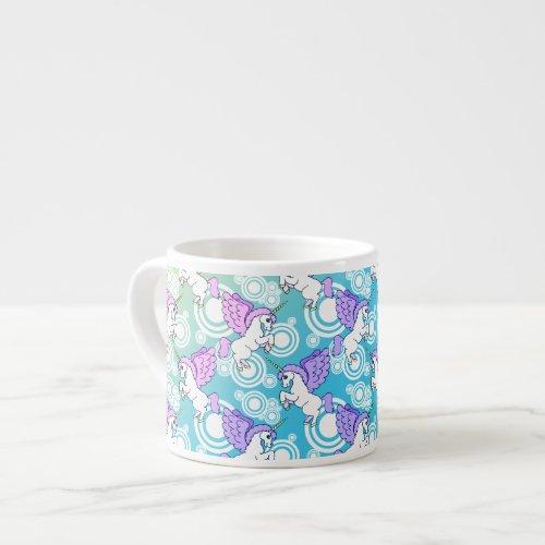 White and Pink Unicorn Espresso Cup
