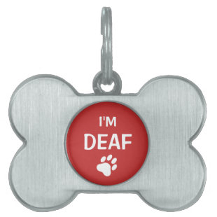 White And Red Paw Print I'm Deaf Pet ID Tag