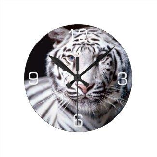 White Bengal Tiger Photography Wallclocks