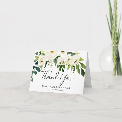 White Blooming Flowers all occasion Wedding Thank You Card
