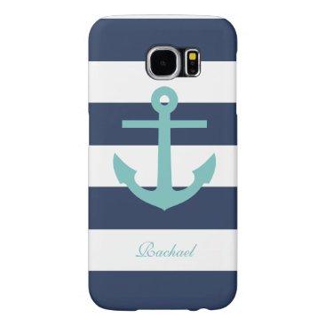White Blue & Aqua Anchors Aweigh Samsung Galaxy S6 Case