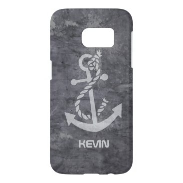 White Boat Anchor On Grungy Metallic Texture Samsung Galaxy S7 Case