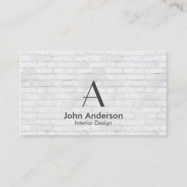 White Bricks Monogram Business Card with Dark Gray