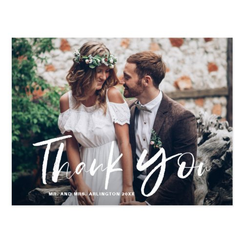 White Brush Hand Lettered Photo Wedding Thank You Postcard