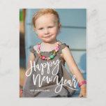 White Brush Script Overlay Happy New Year Photo Holiday Postcard