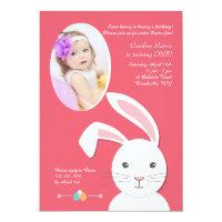 White Bunny Easter Birthday Photo Invitation