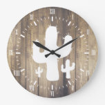 White Cactus & Faux Wood Large Clock