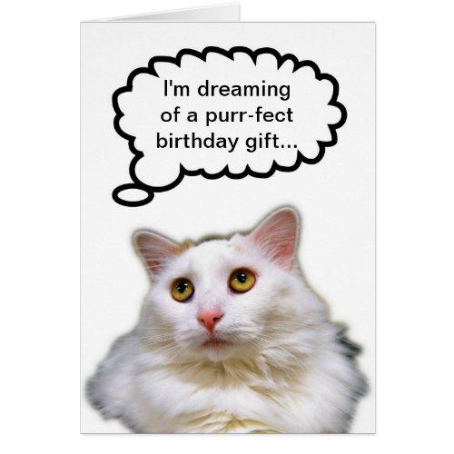 White Cat Birthday Humor Card