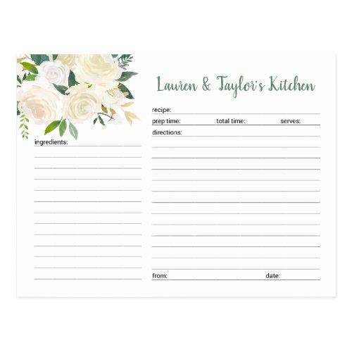 White Cream Floral bridal shower recipe card