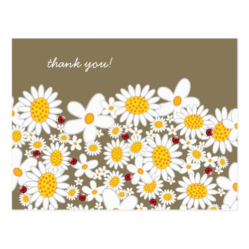 White Daisies and Ladybugs Thank You Postcard