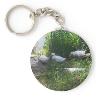 White Ducks on a Ramp Keychain keychain