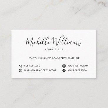 White feminine script custom logo social media business card