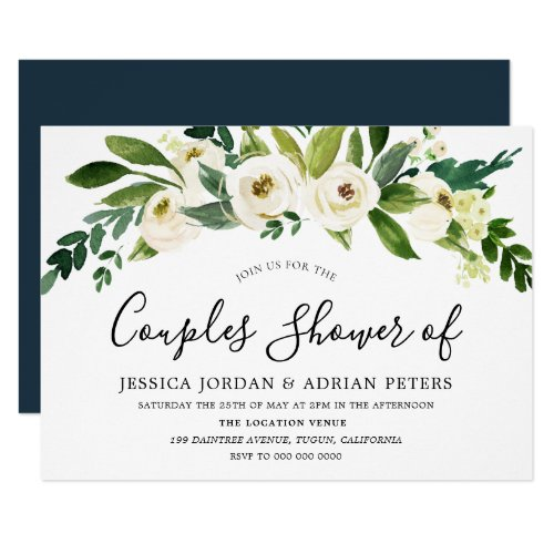 White Floral All Seasons Couples Shower Invitation