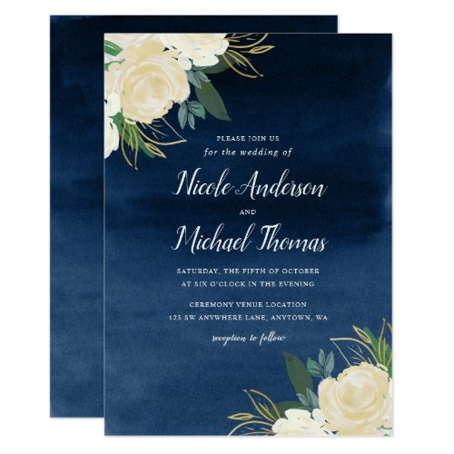 White Floral Navy Blue Watercolor Wedding Invitation