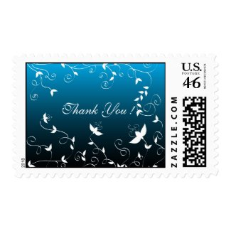 White floral on blue postage stamp