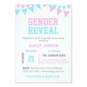 White GENDER REVEAL Baby Shower Invitations