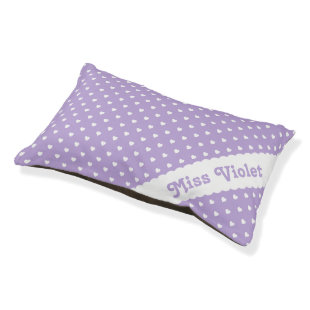 White Hearts on Lavender Personalized Small Dog Bed