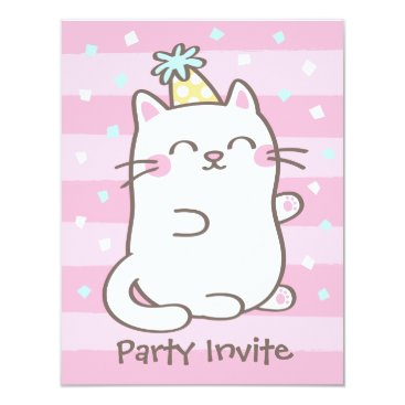 White Kitty Cat Girls Birthday Party Invitations