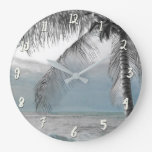 White Palm Coconut Tree Elegant Beach Paradise Large Clock