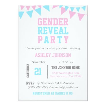 White Pink Blue GENDER REVEAL PARTY Baby Shower Invitation