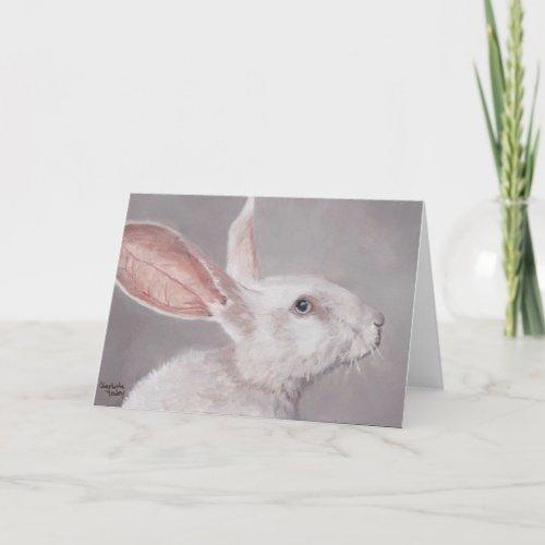 White Rabbit Animal Art Greeting Card