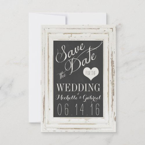 White Rustic Frame Chalk Typography Save the Date