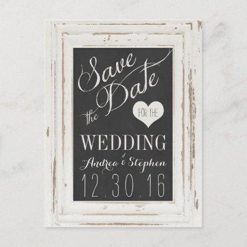 White Rustic Frame Chalk Typography Save the Date Announcement Postcard
