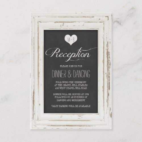 White Rustic Frame Chalk Wedding Reception Enclosure Card