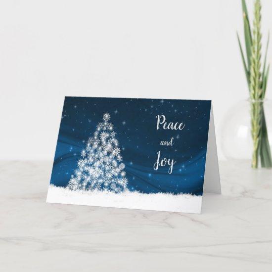 White Snowflake Christmas Tree Holiday Card