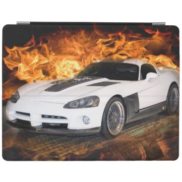 White sports car racing through flames. iPad smart cover