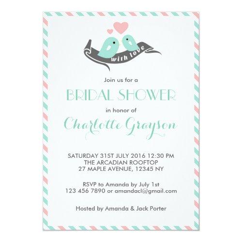 White Stripes Lovebirds Bridal Shower Invitation