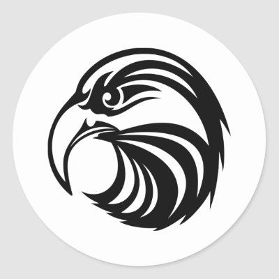 White Tattoo Tribal Eagle Round Stickers by WhiteTiger_LLC
