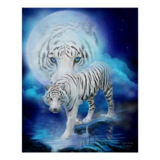 White Tiger Moon Art Poster/Print