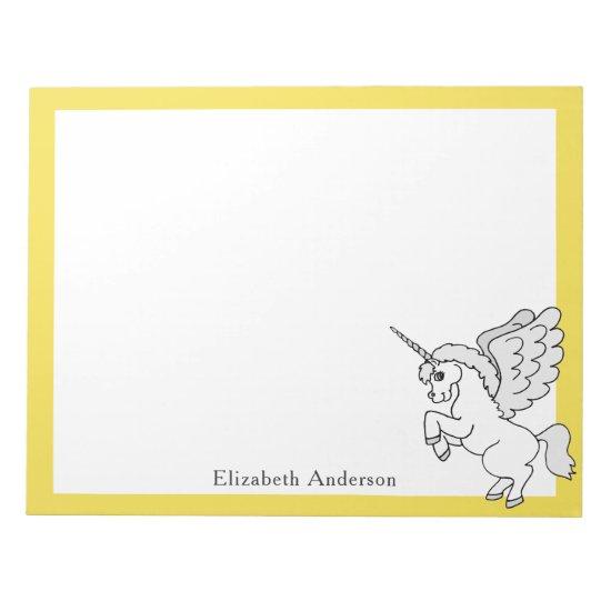 White Unicorn Custom Name Yellow Notepad