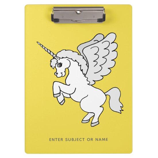 White Unicorn Personalized Yellow Clipboard
