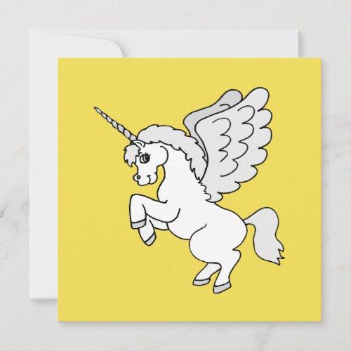 White Unicorn Yellow Custom Text Flat Card