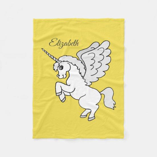 White Unicorn Yellow Personalize Fleece Blanket