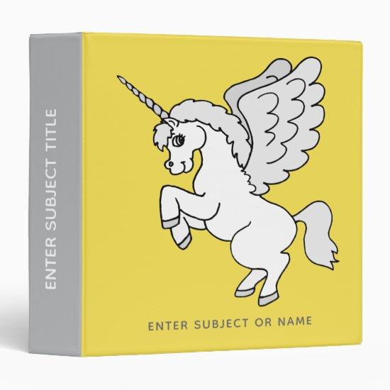 White Unicorn Yellow Personalized 3 Ring Binder