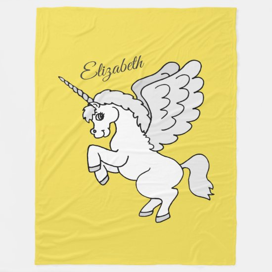 White Unicorn Yellow Personalized Large Fleece Blanket